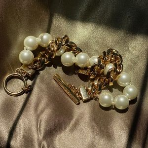 Vintage Givenchy faux pearl gold plated bracelet